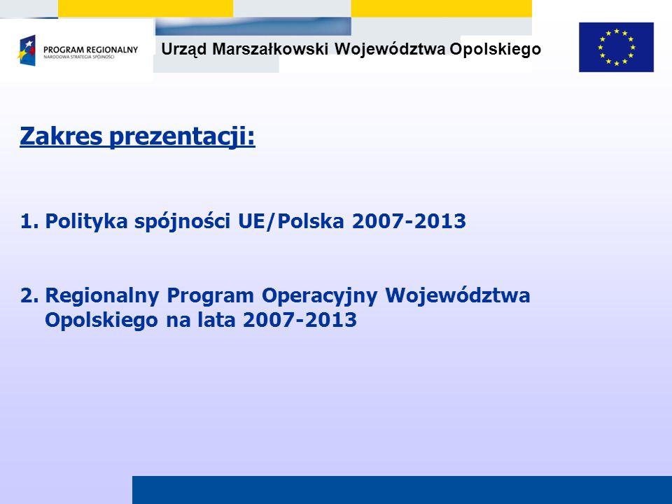 Zakres prezentacji: 1. Polityka spójności UE/Polska 2007-2013
