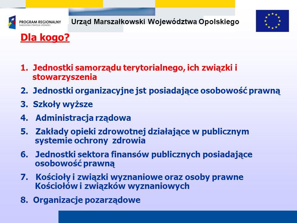 Dla kogo 1. Jednostki samorządu terytorialnego, ich związki i stowarzyszenia. 2. Jednostki organizacyjne jst posiadające osobowość prawną.