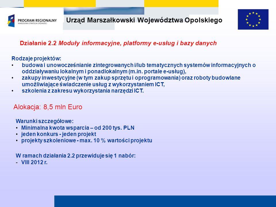 Działanie 2.2 Moduły informacyjne, platformy e-usług i bazy danych