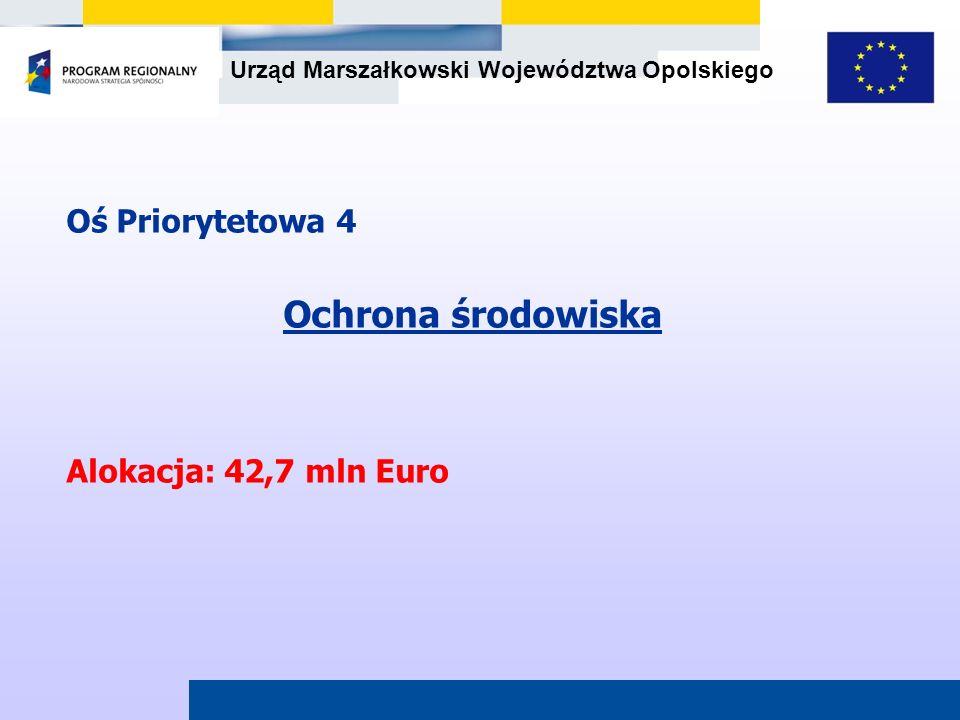 Oś Priorytetowa 4 Ochrona środowiska Alokacja: 42,7 mln Euro