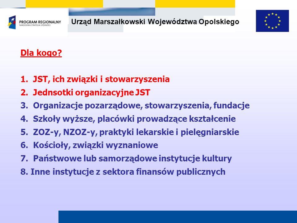 Dla kogo 1. JST, ich związki i stowarzyszenia. 2. Jednsotki organizacyjne JST. 3. Organizacje pozarządowe, stowarzyszenia, fundacje.