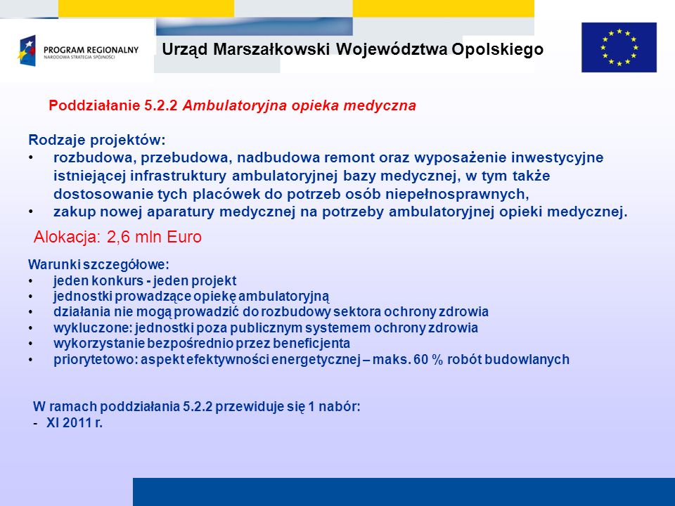 Poddziałanie 5.2.2 Ambulatoryjna opieka medyczna