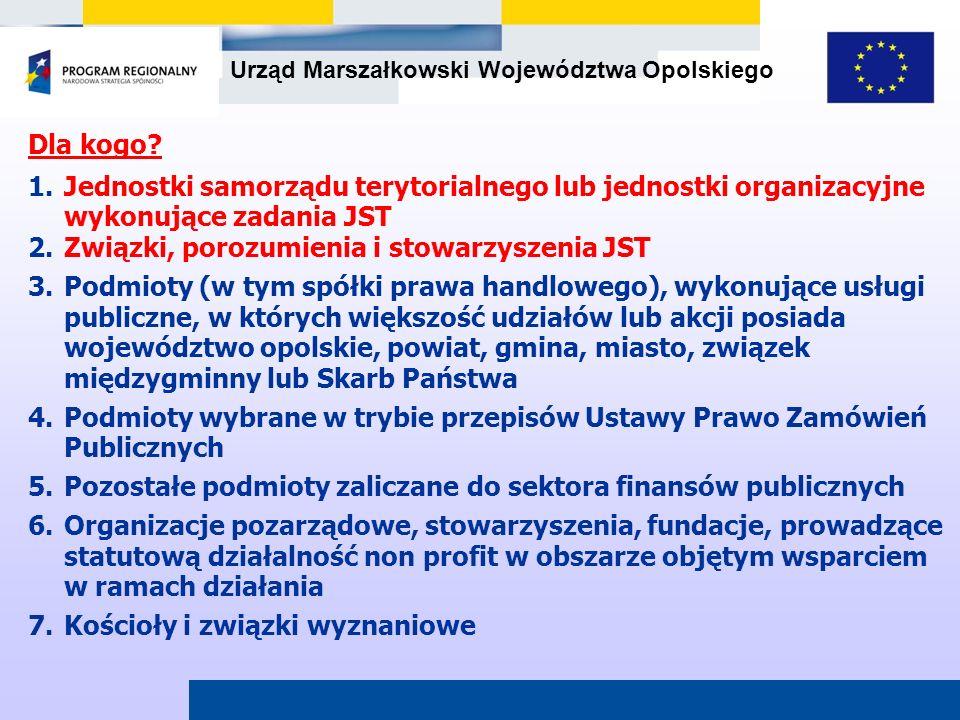 Dla kogo Jednostki samorządu terytorialnego lub jednostki organizacyjne wykonujące zadania JST. Związki, porozumienia i stowarzyszenia JST.
