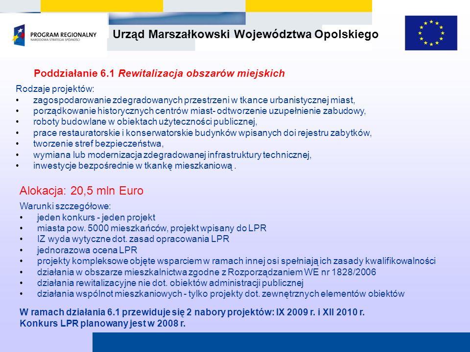 Poddziałanie 6.1 Rewitalizacja obszarów miejskich