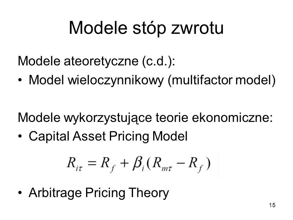 Modele stóp zwrotu Modele ateoretyczne (c.d.):