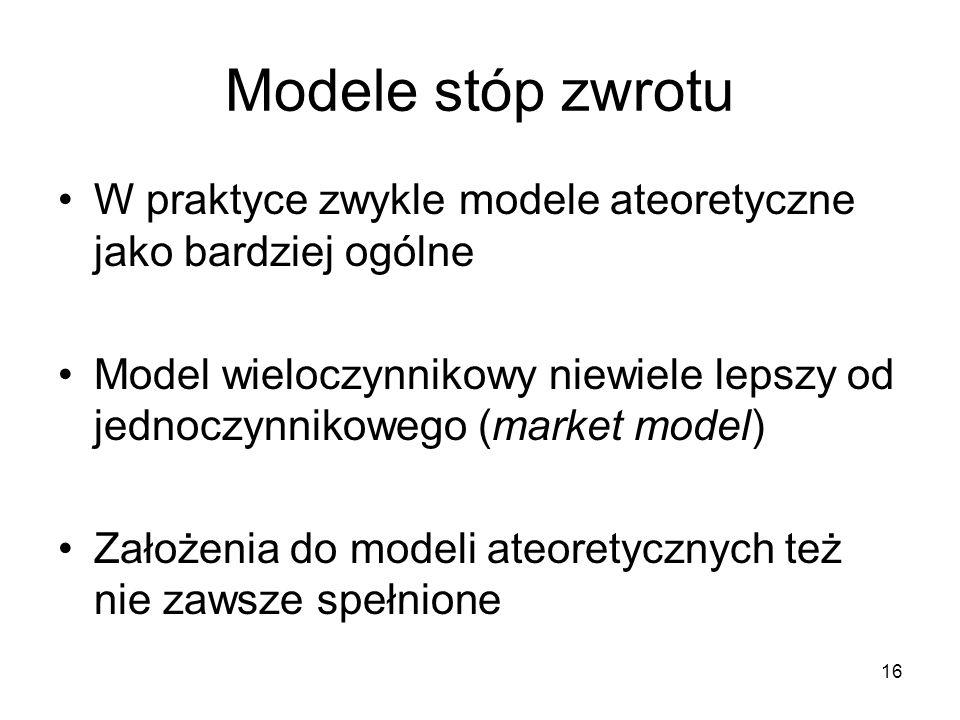 Modele stóp zwrotu W praktyce zwykle modele ateoretyczne jako bardziej ogólne.