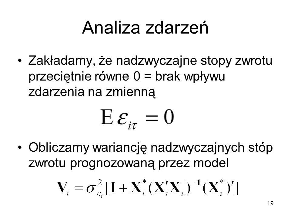 Analiza zdarzeń Zakładamy, że nadzwyczajne stopy zwrotu przeciętnie równe 0 = brak wpływu zdarzenia na zmienną.