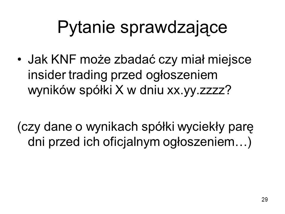 Pytanie sprawdzające Jak KNF może zbadać czy miał miejsce insider trading przed ogłoszeniem wyników spółki X w dniu xx.yy.zzzz