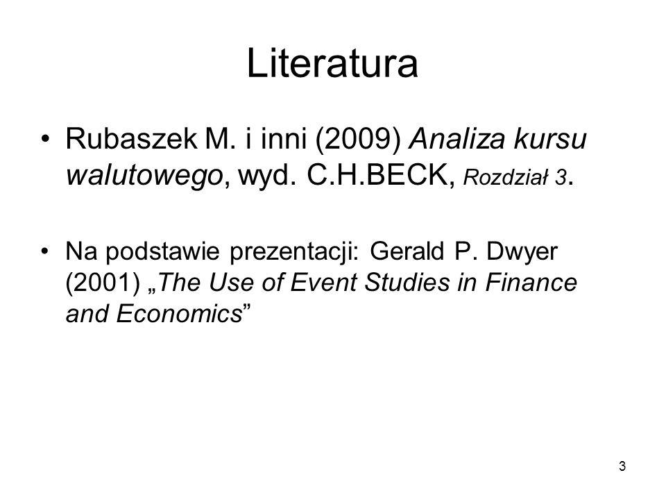Literatura Rubaszek M. i inni (2009) Analiza kursu walutowego, wyd. C.H.BECK, Rozdział 3.