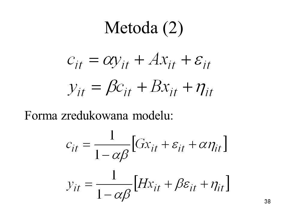 Metoda (2) Forma zredukowana modelu: