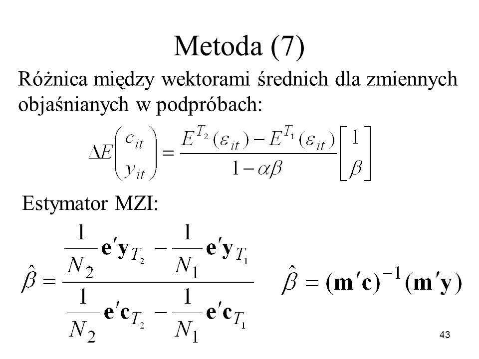 Metoda (7) Różnica między wektorami średnich dla zmiennych objaśnianych w podpróbach: Estymator MZI:
