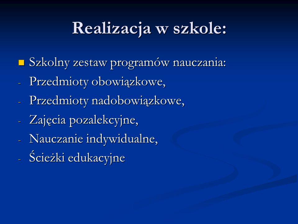 Realizacja w szkole: Szkolny zestaw programów nauczania: