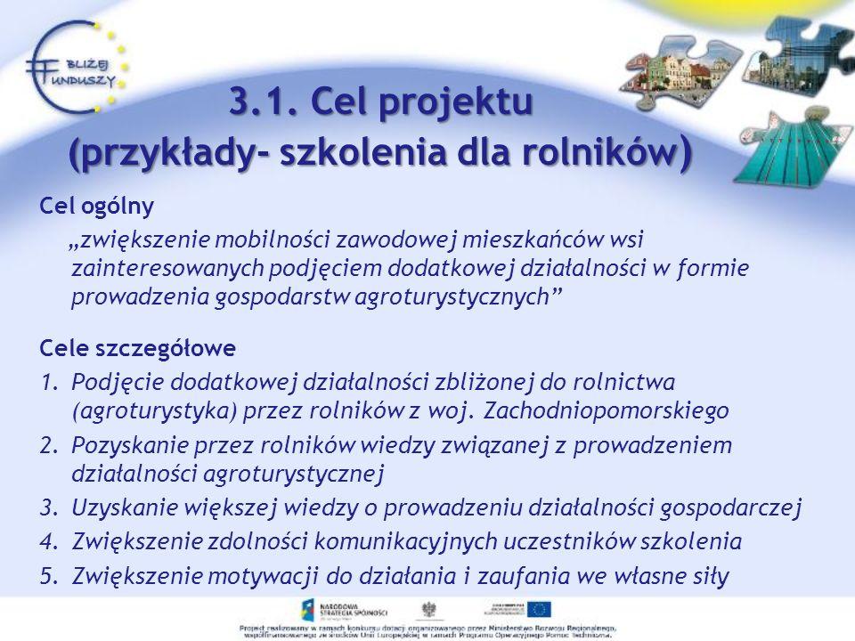 3.1. Cel projektu (przykłady- szkolenia dla rolników)