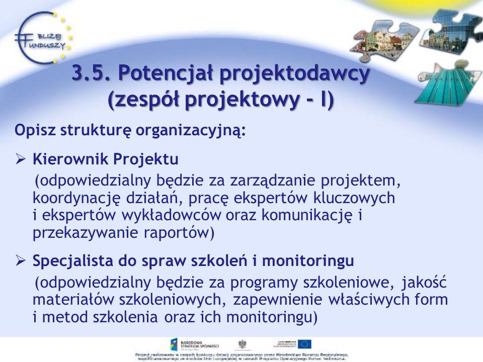 3.5. Potencjał projektodawcy (zespół projektowy - I)