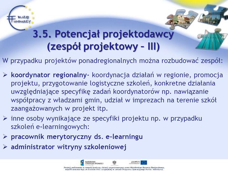 3.5. Potencjał projektodawcy (zespół projektowy – III)