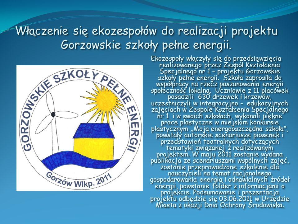 Włączenie się ekozespołów do realizacji projektu Gorzowskie szkoły pełne energii.