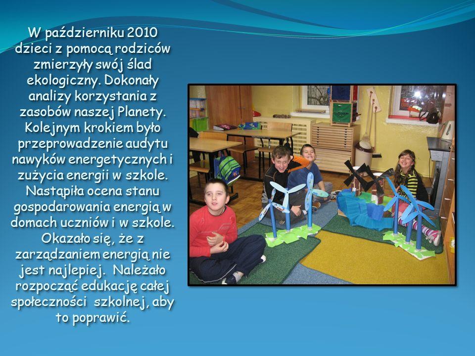 W październiku 2010 dzieci z pomocą rodziców zmierzyły swój ślad ekologiczny.