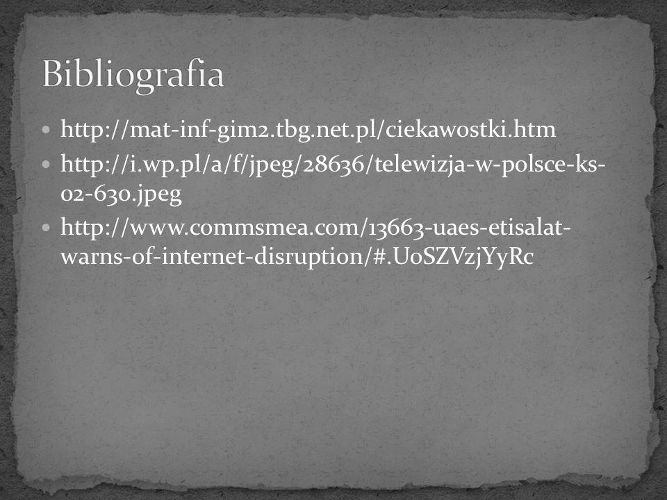Bibliografia http://mat-inf-gim2.tbg.net.pl/ciekawostki.htm