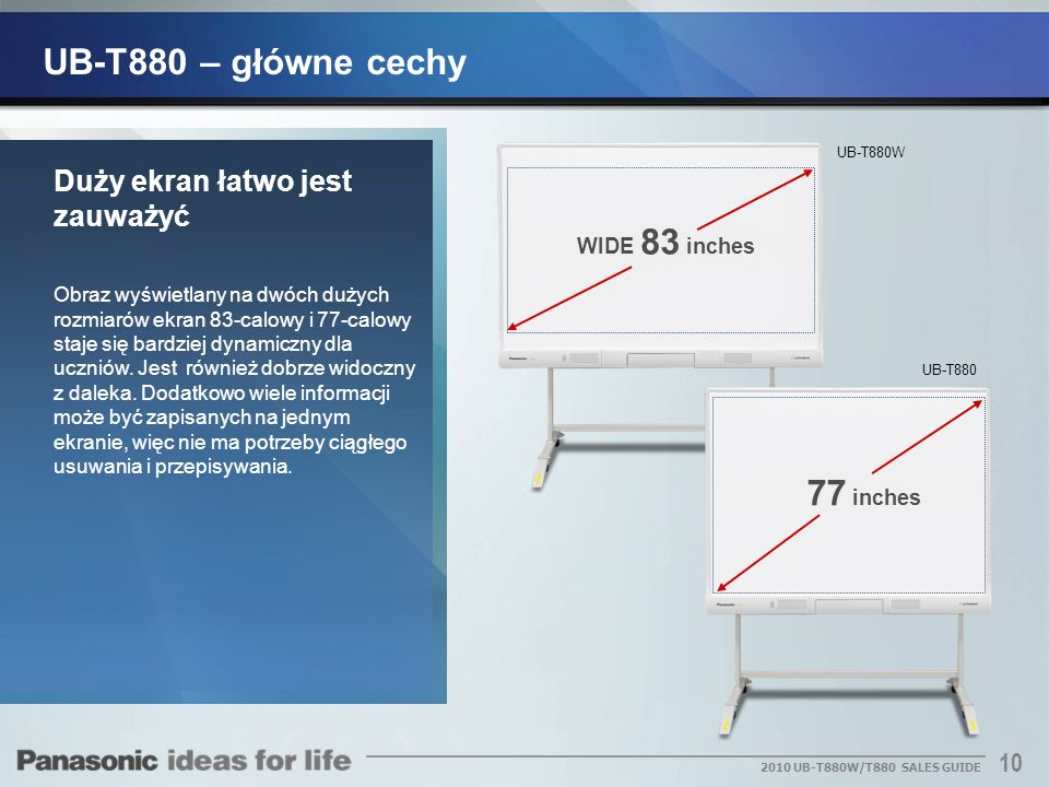 UB-T880 – główne cechy 77 inches Duży ekran łatwo jest zauważyć