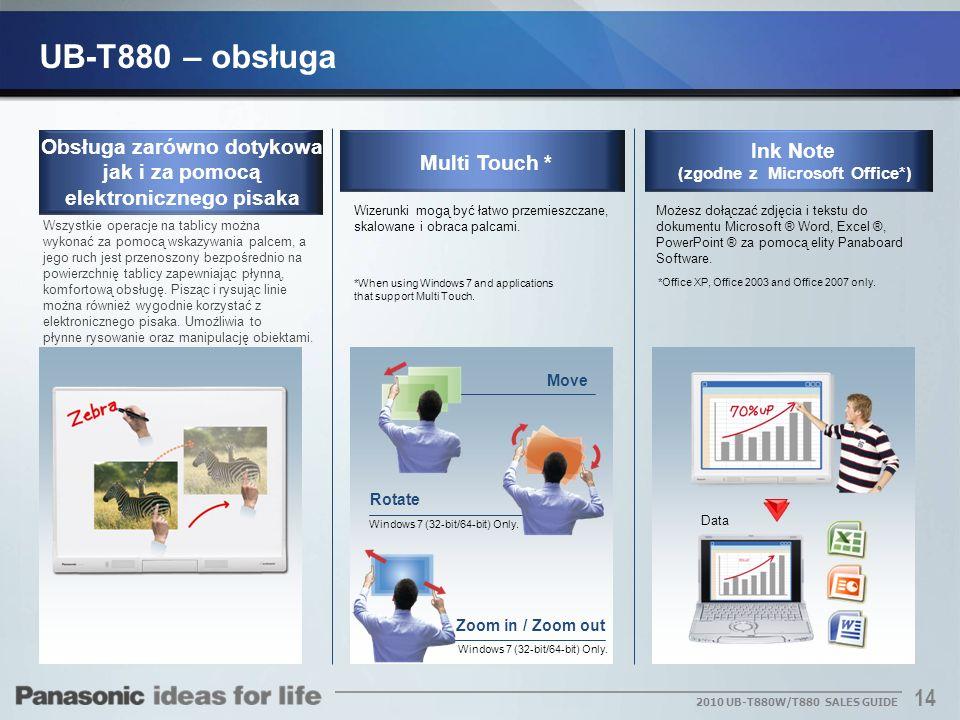 UB-T880 – obsługaObsługa zarówno dotykowa jak i za pomocą elektronicznego pisaka. Ink Note. (zgodne z Microsoft Office*)