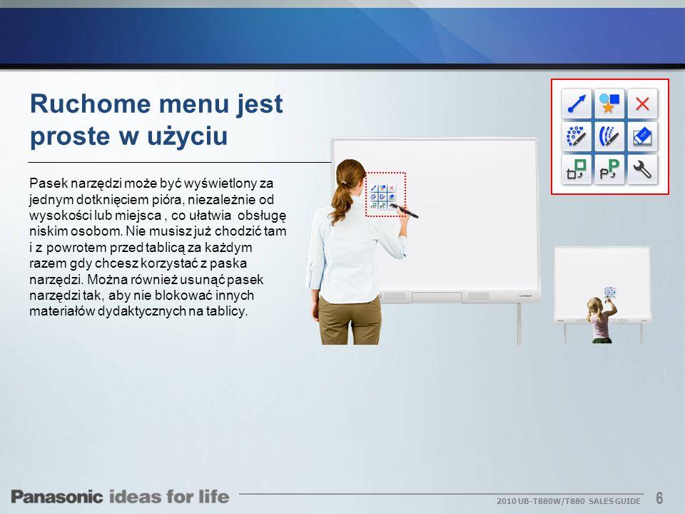 Ruchome menu jest proste w użyciu