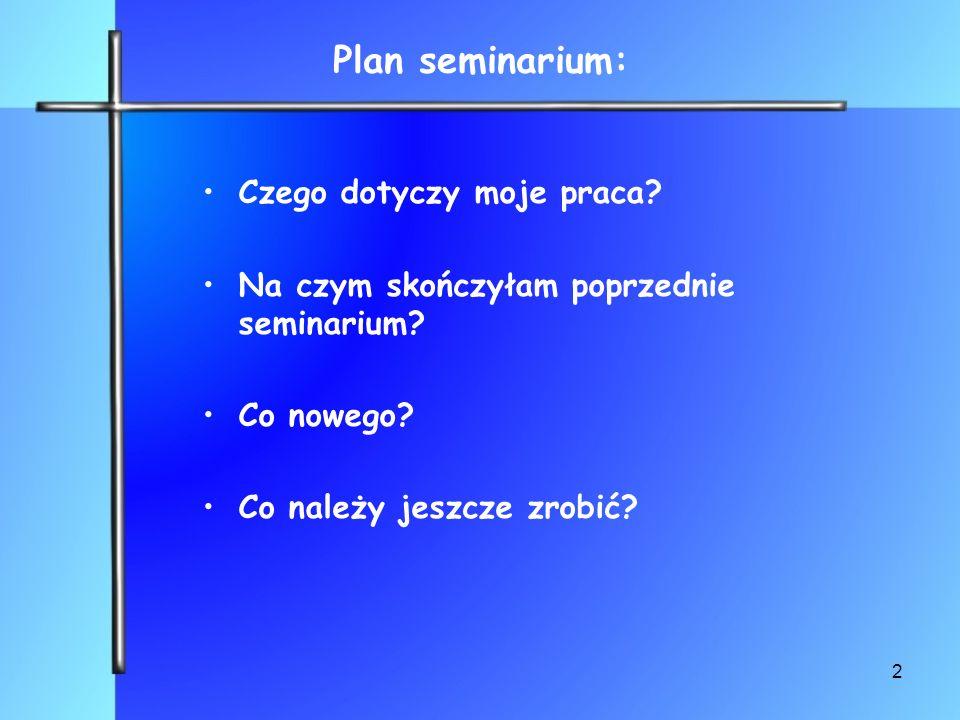 Plan seminarium: Czego dotyczy moje praca