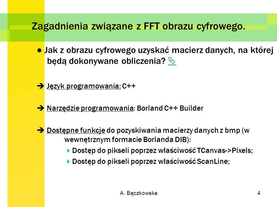 Zagadnienia związane z FFT obrazu cyfrowego.