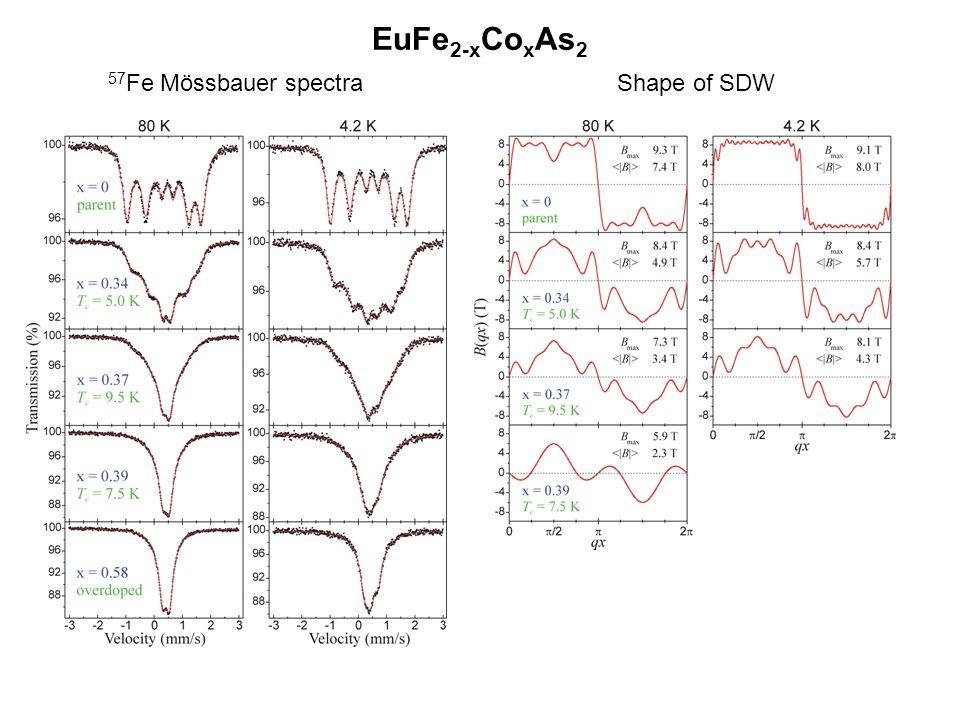 EuFe2-xCoxAs2 57Fe Mössbauer spectra Shape of SDW
