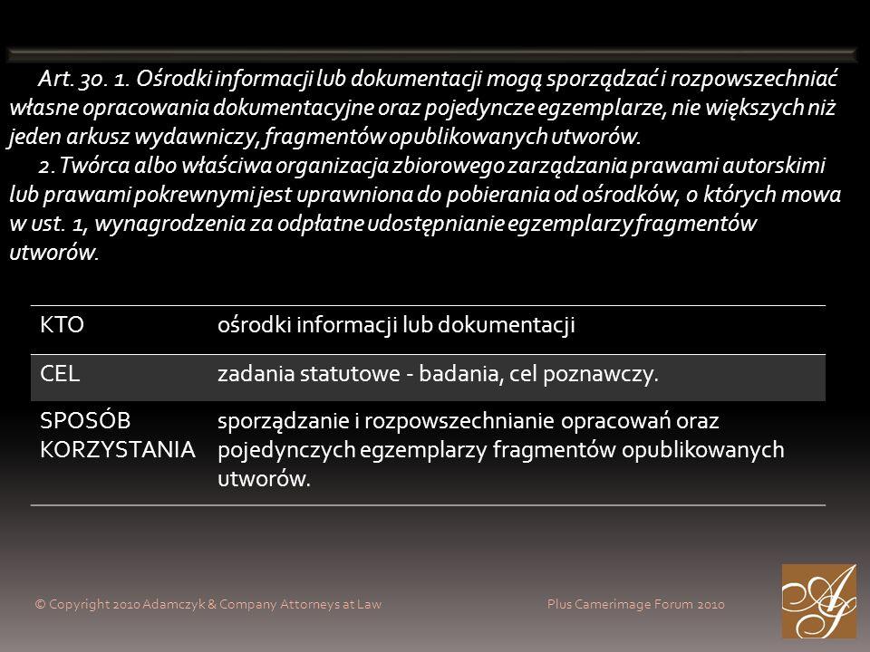 ośrodki informacji lub dokumentacji CEL