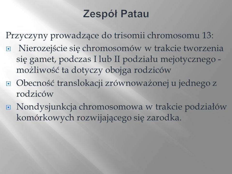 Zespół Patau Przyczyny prowadzące do trisomii chromosomu 13: