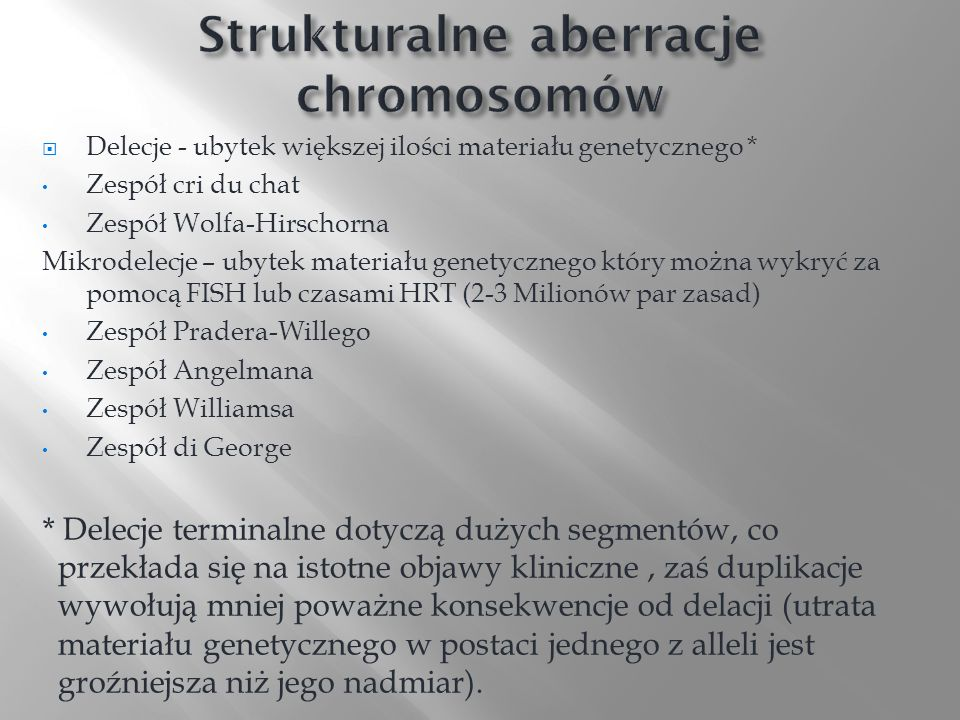 Strukturalne aberracje chromosomów