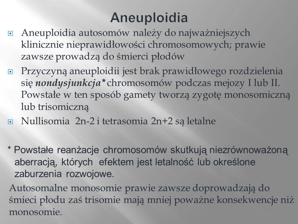 Aneuploidia Aneuploidia autosomów należy do najważniejszych klinicznie nieprawidłowości chromosomowych; prawie zawsze prowadzą do śmierci płodów.