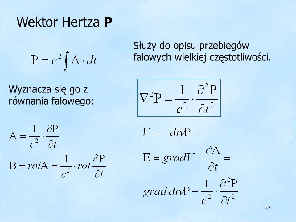Wektor Hertza P Wektor Hertza P. Służy do opisu przebiegów falowych wielkiej częstotliwości.