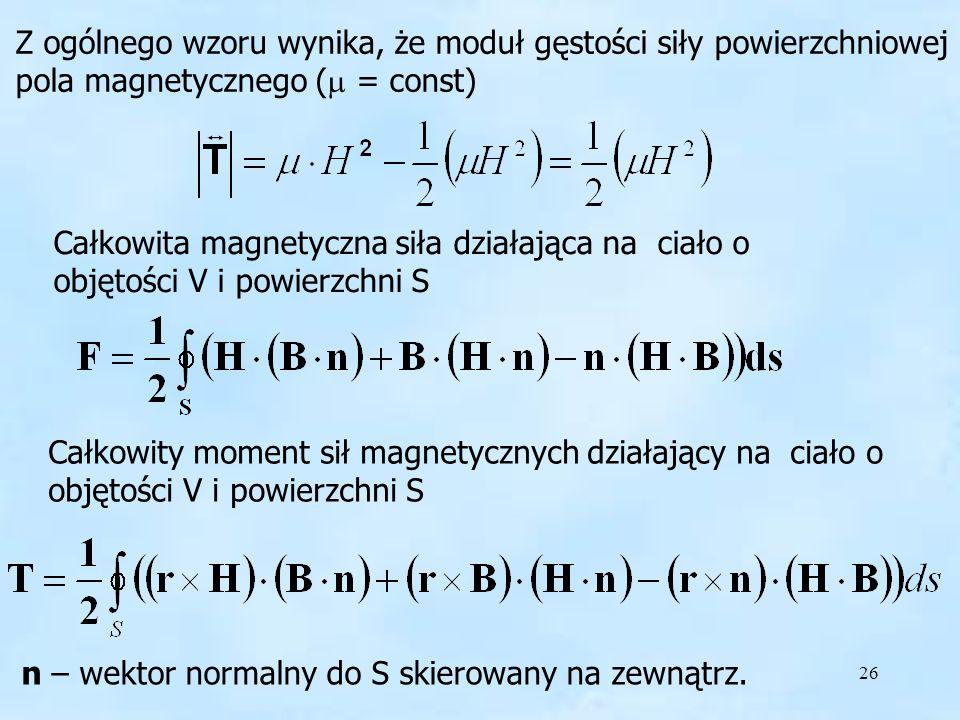Z ogólnego wzoru wynika, że moduł gęstości siły powierzchniowej pola magnetycznego (m = const)