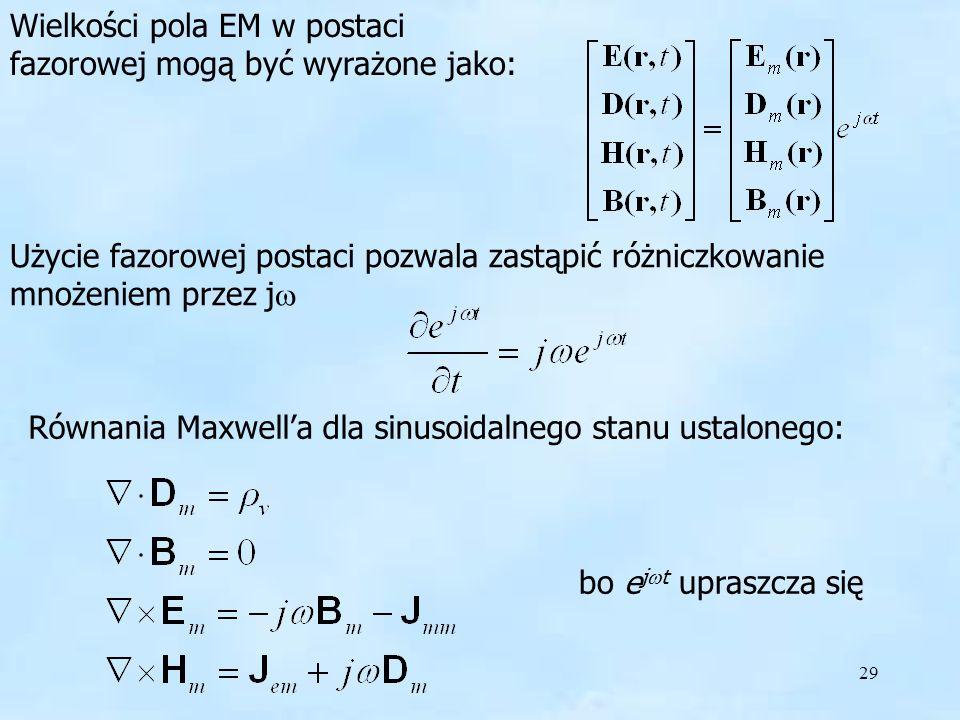 Wielkości pola EM w postaci fazorowej mogą być wyrażone jako: