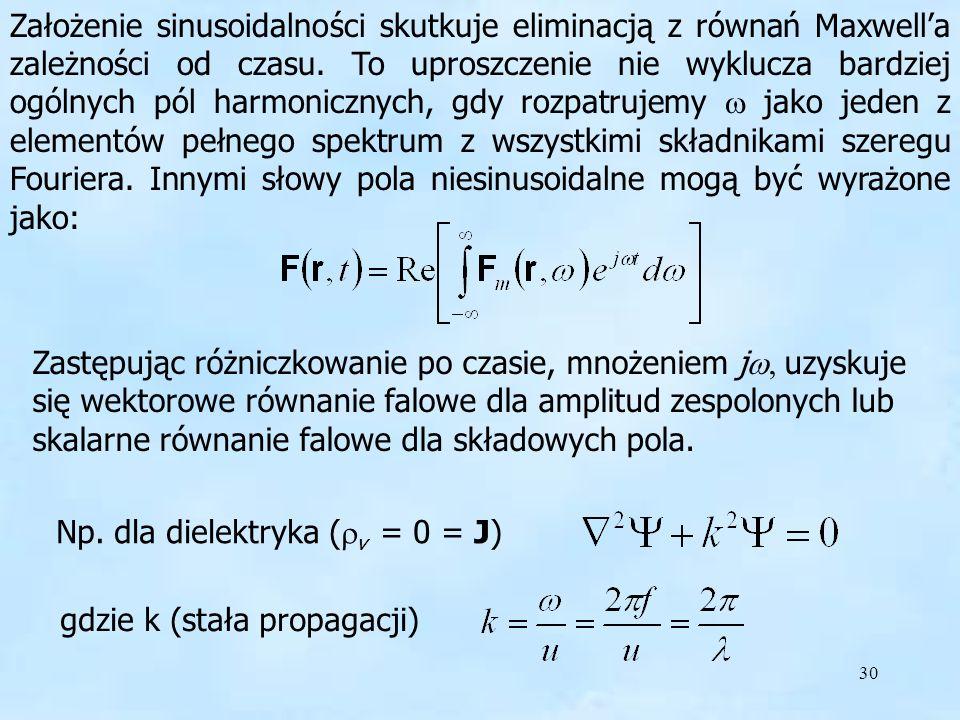 Założenie sinusoidalności skutkuje eliminacją z równań Maxwell'a zależności od czasu. To uproszczenie nie wyklucza bardziej ogólnych pól harmonicznych, gdy rozpatrujemy w jako jeden z elementów pełnego spektrum z wszystkimi składnikami szeregu Fouriera. Innymi słowy pola niesinusoidalne mogą być wyrażone jako: