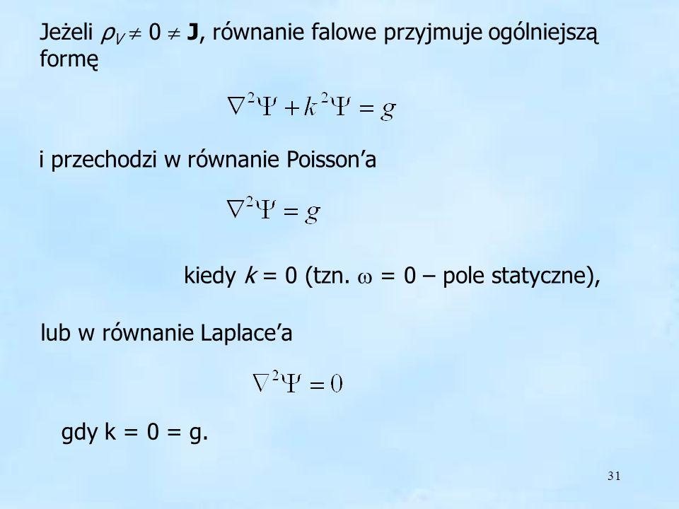 Jeżeli ρV  0  J, równanie falowe przyjmuje ogólniejszą formę