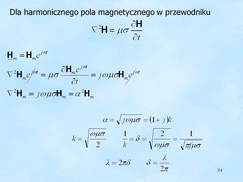 harmoniczne pole w przewodniku