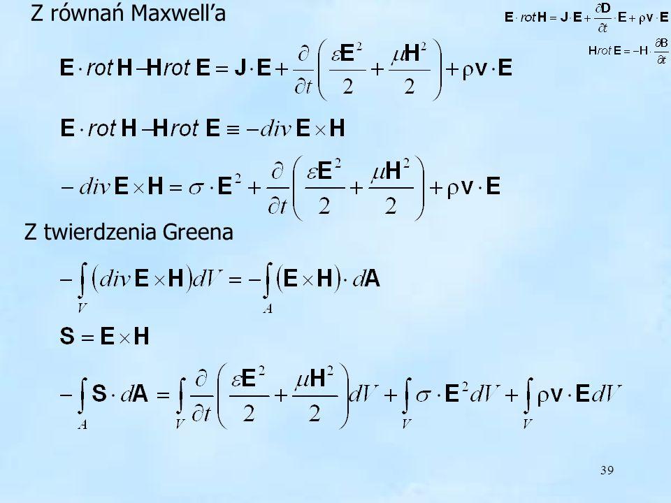 Z równań Maxwell'a Z twierdzenia Greena
