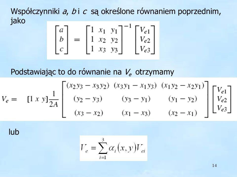 Współczynniki a, b i c są określone równaniem poprzednim, jako