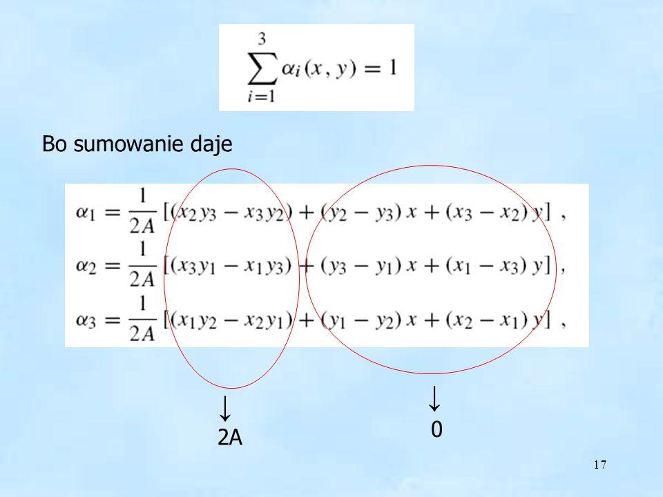 Suma = 1 Bo sumowanie daje ↓ ↓ 2A