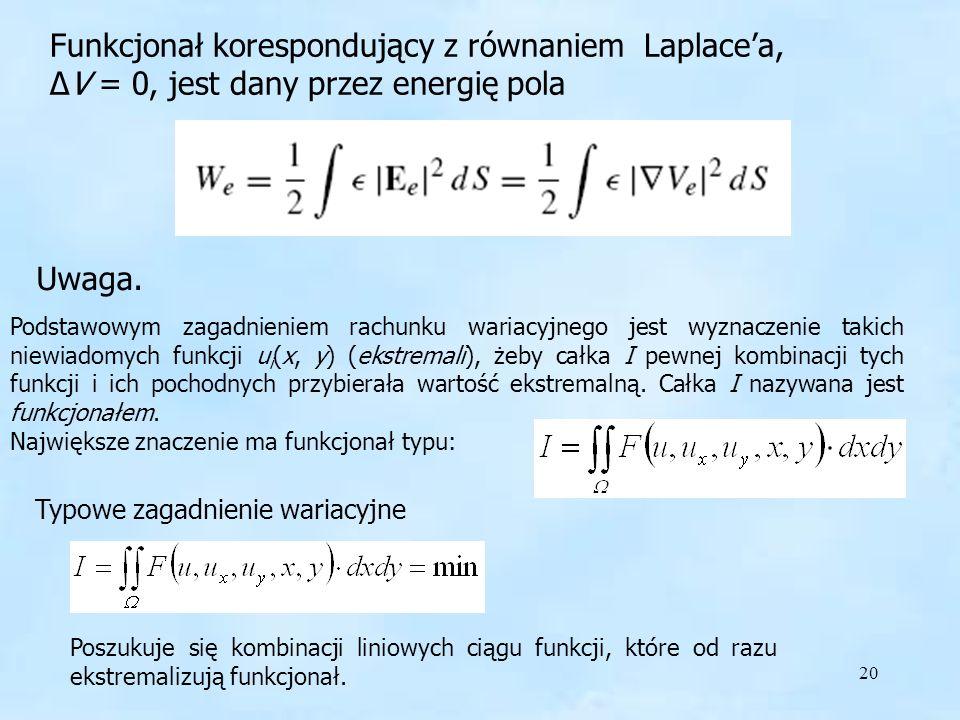 Funkcjonał korespondujący z równaniem Laplace'a,