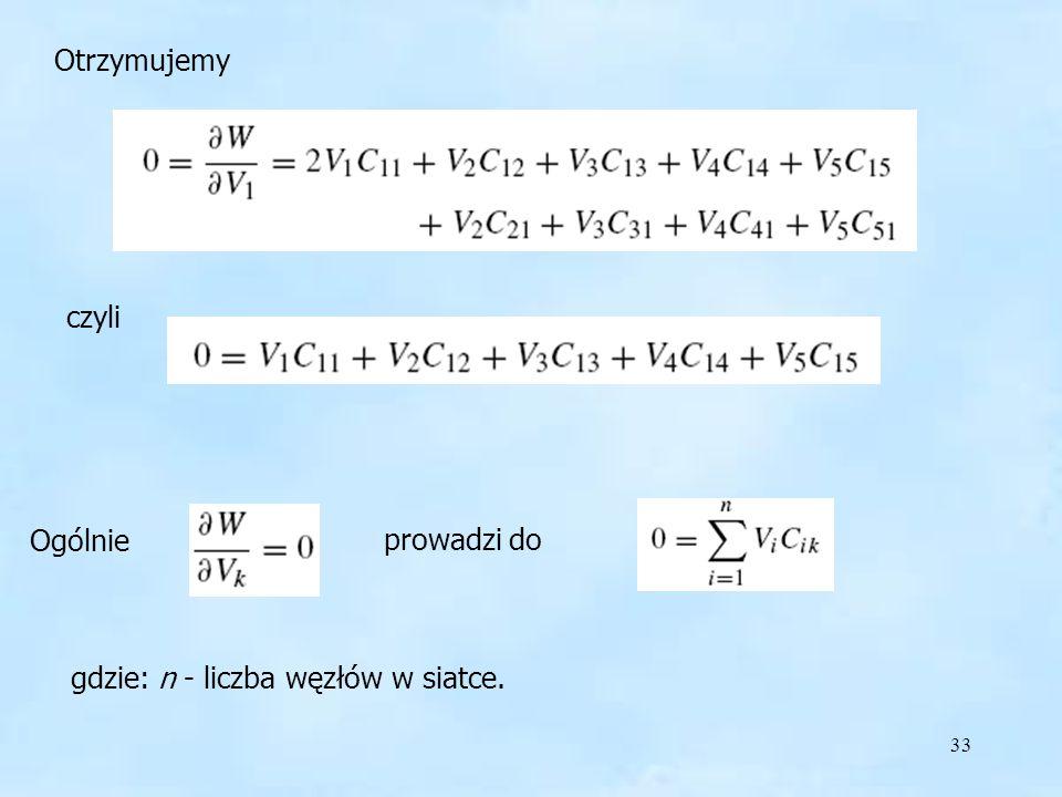 Otrzymujemy czyli Ogólnie prowadzi do gdzie: n - liczba węzłów w siatce.