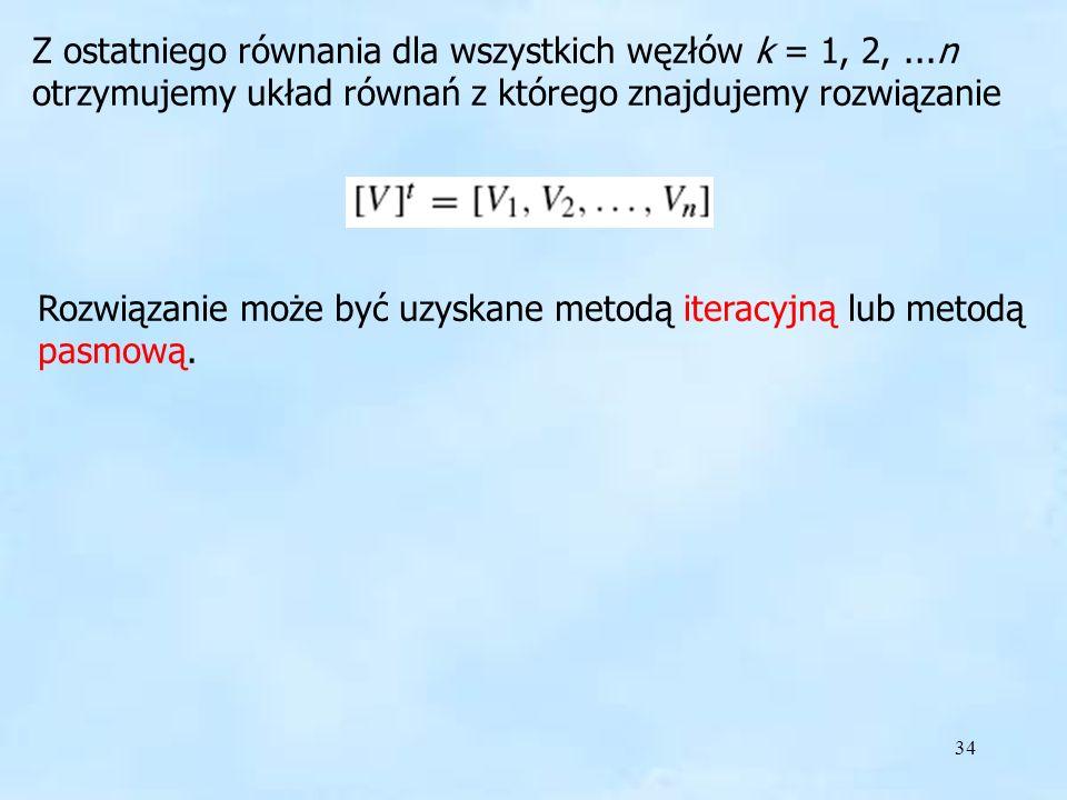 Rozwiązanie może być uzyskane metodą iteracyjną lub metodą pasmową.