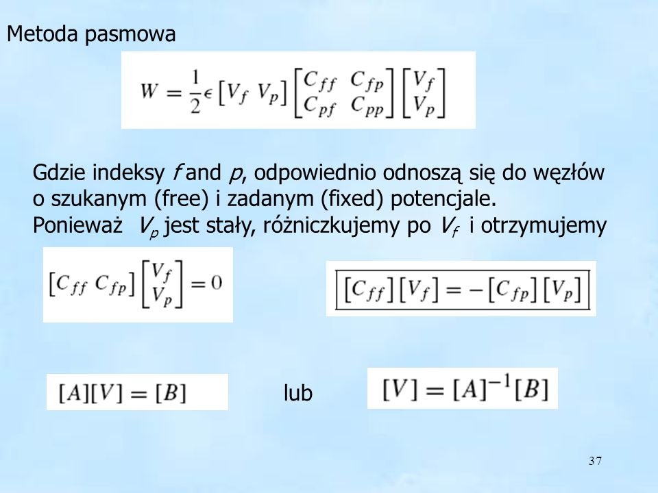 Metoda pasmowa Gdzie indeksy f and p, odpowiednio odnoszą się do węzłów o szukanym (free) i zadanym (fixed) potencjale.