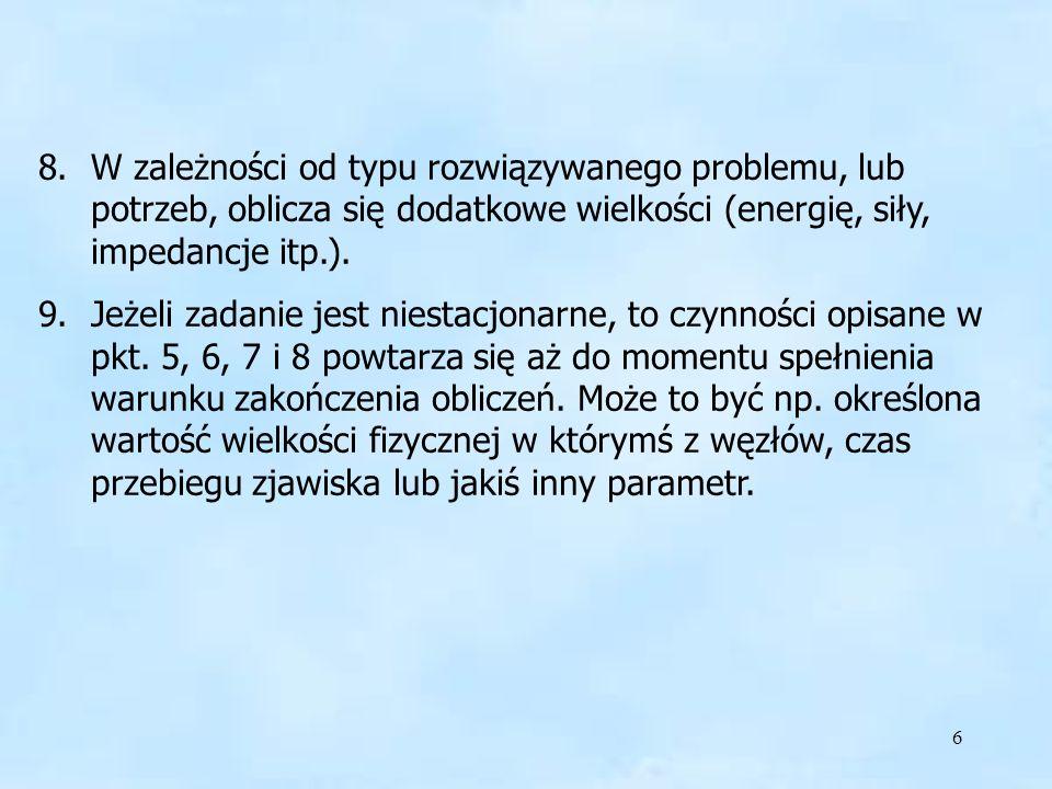 W zależności od typu rozwiązywanego problemu, lub potrzeb, oblicza się dodatkowe wielkości (energię, siły, impedancje itp.).