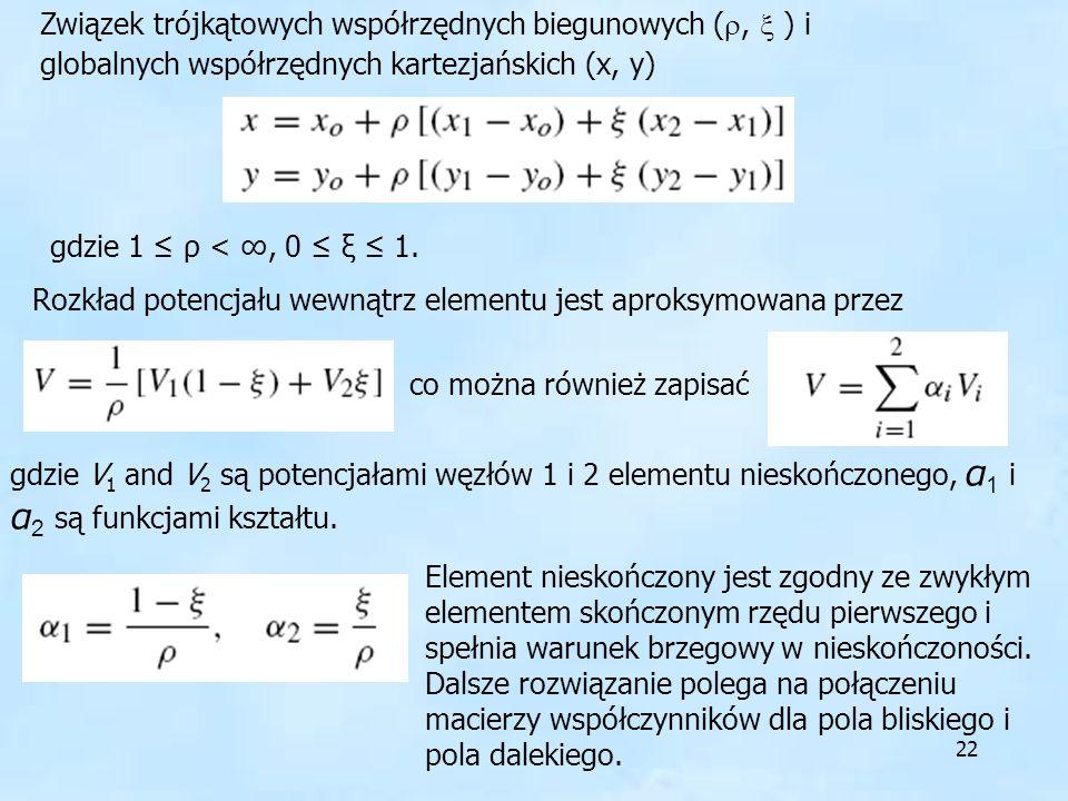 Związek trójkątowych współrzędnych biegunowych (,  ) i globalnych współrzędnych kartezjańskich (x, y)