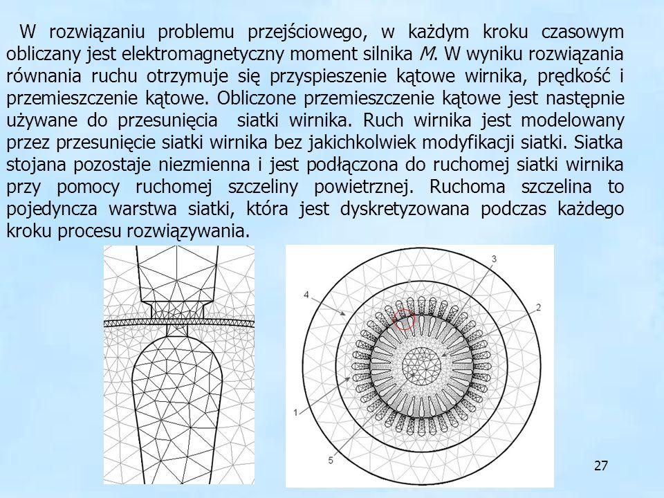 W rozwiązaniu problemu przejściowego, w każdym kroku czasowym obliczany jest elektromagnetyczny moment silnika M.