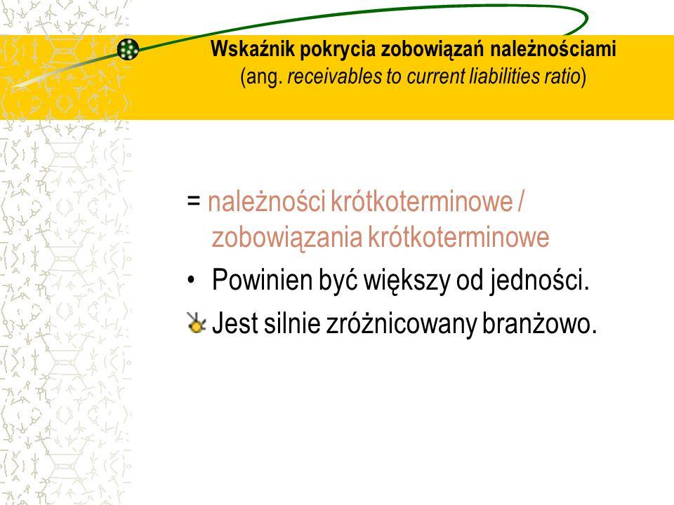 = należności krótkoterminowe / zobowiązania krótkoterminowe