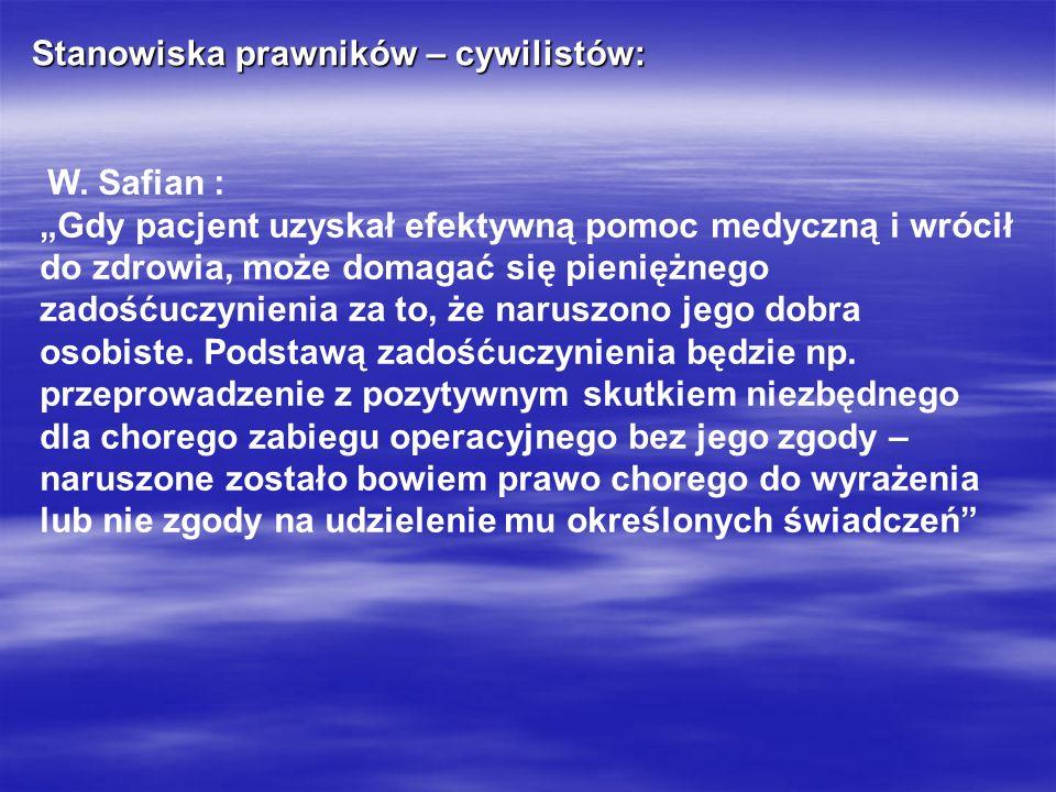 Stanowiska prawników – cywilistów: